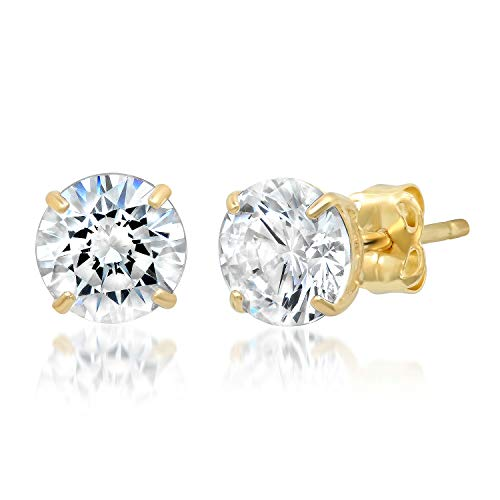 14k Solid Yellow Gold ROUND Stud Earrings with Genuine Swarovski Zirconia | 1.5 CT.TW. | With Gift Box