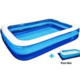 Inflatable Swimming Pools, Family Swimming Pool Thickened Oversize 1036920inch Inflatable Pool for Adults Kiddie Kids Garden Outdoor Backyard, with Protect Pool Mat, for Ages 3+
