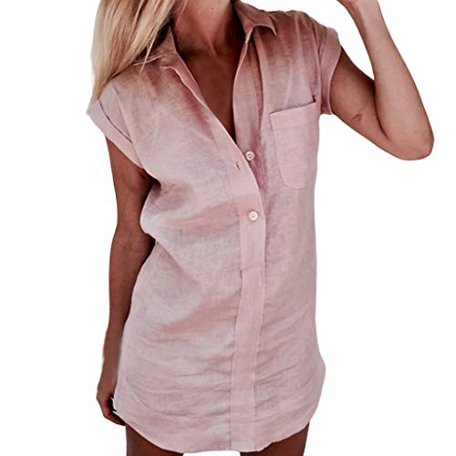 Sunhusing Women's Summer Solid Color Lapel Short Sleeve Pocket Button Vest T-Shirt Tunic Tops Pink