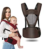 Baby Carrier with Hip Seat for Newborn Infant and Toddler, Ergonomic Baby Wrap Carrier Backpack (2-36 Months) (Coffee, OneSize)