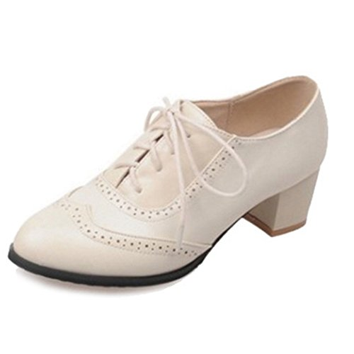 UK SJJH Match Women Pointed Leisure Beige and Toe Lace for 0 Large Size and up Shoes with All Shoes 13 aarBqO