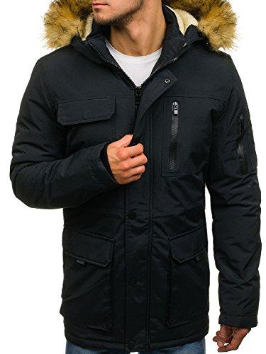 Casual Furry 4D4 BOLF Men's Hood Jacket Zip Winter Black 4604 Mix Parka wHqIA