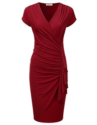 DRESSIS Womens Surplice V-Neck Shirred Frill Long Dress Red 3XL (Waist Dress Shirred)