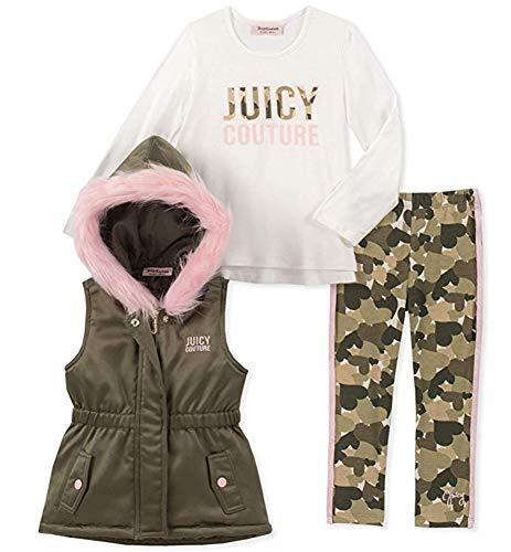 Juicy Couture Baby Girls 3 Pieces Vest Set, Green/Pink/Vanilla, 18M