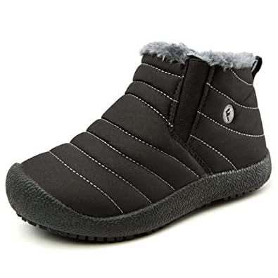 aeepd Kids Snow Boots Boys Girls Shoes Winter Ankle Bootie Outdoor Anti-Slip Fur Lined Black