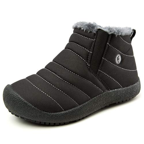 aeepd Kids Snow Boots Winter Fur Lined Warm Outdoor Lightweight Ankle Boots Girls Boys Shoes Black