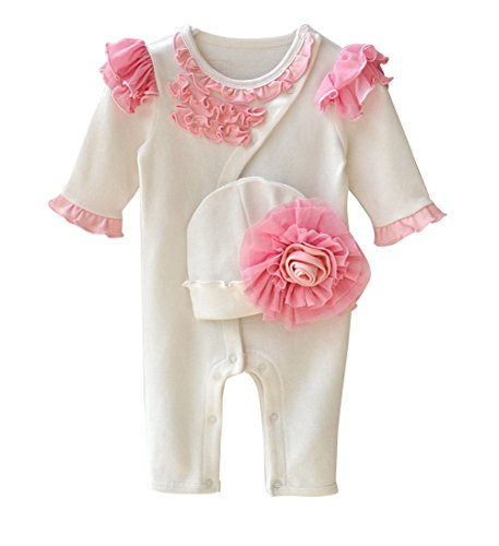 Newborn Baby Girls Floral Lace Romper Bodysuit Jumpsuit With Flower Headband (0-3 Months, White)