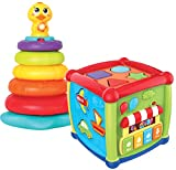 JOYIN Baby Activity Center Flashing Baby Stack Toys with Shape Color Sorting Alphabet Activity Cube Music Cute Toys