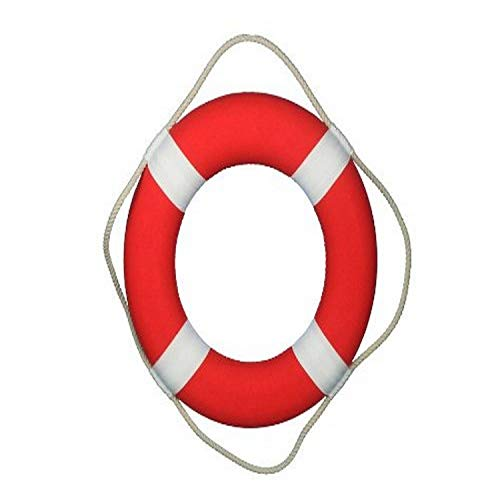 Hampton Nautical  Vibrant Red Lifering with White Bands, 20""