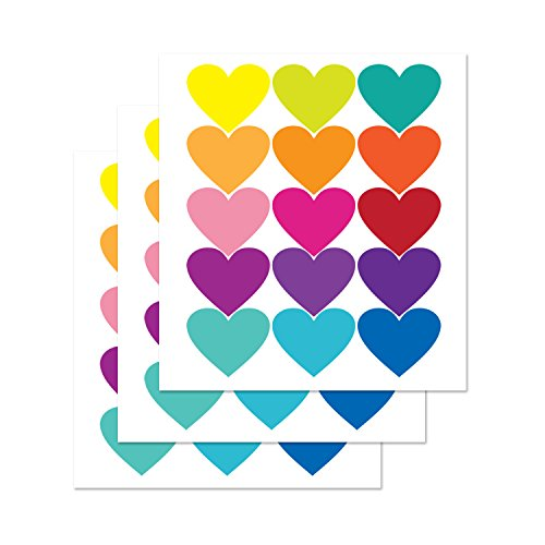 PARLAIM Valentine's Day Color Rainbow Heart Wall Decals Stickers, Peel and Stick Eco-Friendly Reusable Wall Stickers with Gift Packaging for Kids Room, Wedding Rooms,Living Room (2.9 x 2.3 inch)