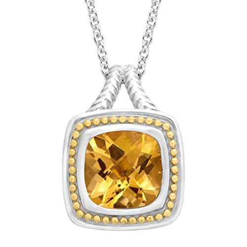 4 ct Citrine Cushion Pendant Necklace in Sterling Silver & 18K Gold