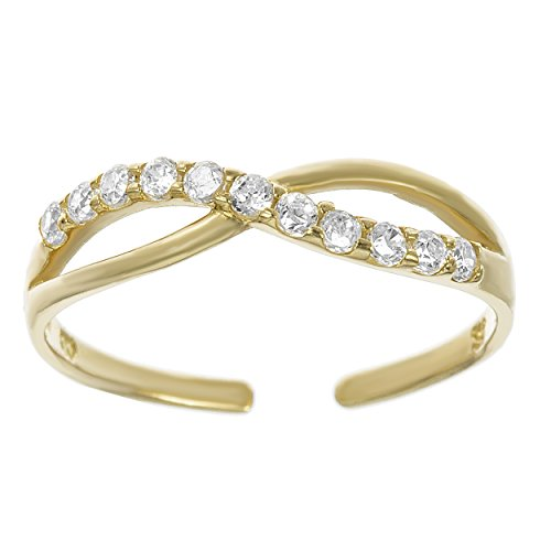 Lavari - 10K Yellow Gold Cubic Zirconium Toe Ring Adjustable
