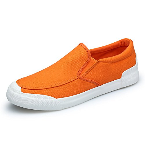 Lazy Men's Shoes Fashionable Orange Summer Canvas Shoes Breathable xPgXA