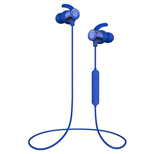 SoundPEATS Magnetic Wireless Earbuds Bluetooth Headphones Sport In-Ear IPX 6 Sweatproof Earphones with Mic (Super sound quality Bluetooth 4.1, aptx, 8 Hours Play Time, Secure Fit Design) (Blue)