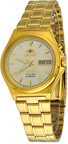 Orient #FEM5M00WC Men's 3 Star Gold Tone Stainless Steel Champagne Dial Automatic Watch