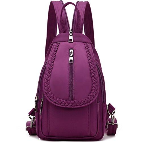 NOVOSACO Women Convertible Small Nylon Backpack Purse Sling Shoulder Bag (Purple)
