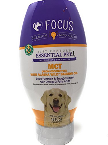 21st Century Essential Pet Focus, MCT (From Coconut Oil) With Alaska Wild Salmon Oil Brain Function & Energy SUpport with Omega-3 Fatty Acids Liquid Supplement, For All Dogs, 18 Fl. Oz. For Sale