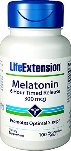 Mcg Timed Release (Life Extension Melatonin 6 Hour Time Released Vegetarian, 300 mcg 100 Vegetarian Tablets)