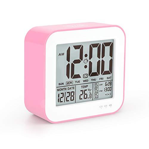 - Aitey Alarm Clock Kids, LED Large Display Digital Clock Temperature, 3 Alarm, Snooze Low Light Sensor Home, Office, USB Charger Clock (Pink)