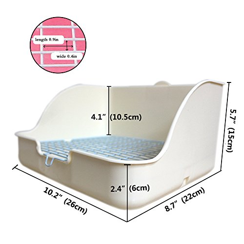 HongYH Pet Small Rat Toilet, Square Potty Trainer Corner Litter Bedding Box Pet Pan for Small Animal/rabbit/guinea Pig/galesaur/ferret(Grey) by HongYH (Image #3)
