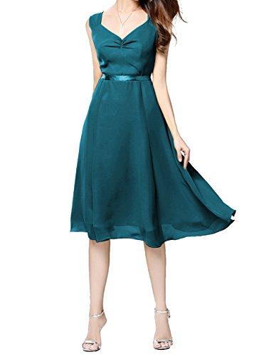 ModeC Knee Length Chiffon Bridesmaid Dress A Line Short Wedding Party Dresses Teal US10