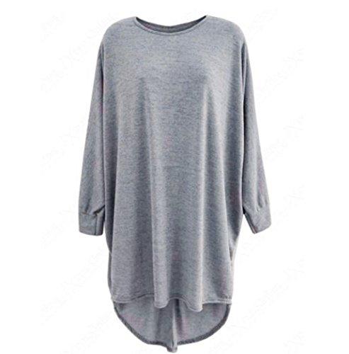 FAMILIZO Mujeres Moda Hem Bolsón largo Batwing Oversized Casual Wear Blusa larga Tops Gris