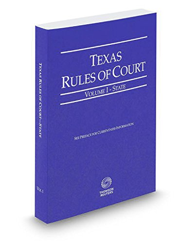 Texas Rules Of Court State V.I 2015 Pamphlet