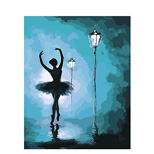 Paint by Numbers DIY Oil Painting Ballerina Girl Under The Street Lamp Adults and Children Oil Painting Kit and Brush for Decorations Gifts 16x20inch (40x50cm) [No Frame]