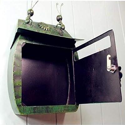 Yyqtyx Carta de Hierro Creativa buzón de Correo buzón buzón Antiguo Color Verde metálico for Montaje en Pared 360 x 160 x 400 mm: Amazon.es: Hogar