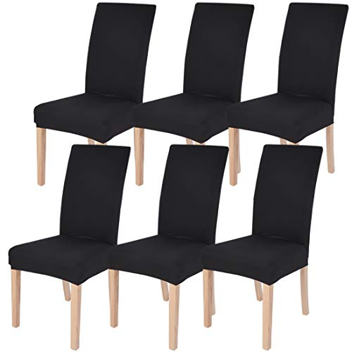 SearchI Dining Room Chair Covers Slipcovers Set of 6, Spandex Fabric Fit Stretch Removable Washable Short Parsons Kitchen Chair Covers Protector for Dining Room, Hotel, Ceremony (Black, 6 per Set)