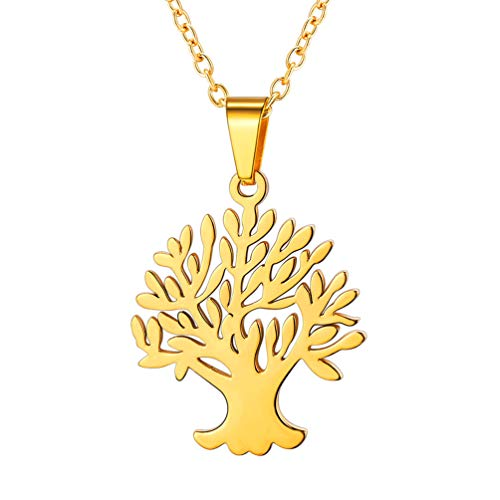 PROSTEEL 18K Gold Plated Tree of Life Necklace Womens Jewelry Family Tree Pendant Minimalist