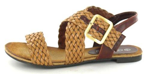 Spot On Flat Plaited X Strap Sandal Tan TH9Old3Z96