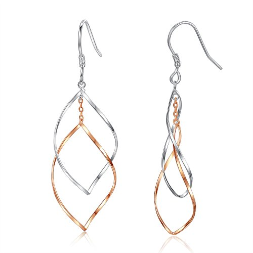 Gold Plated Sterling Silver Double Linear Loops Design Twist Wave Dangle Drop Earrings for Women (Sterling Silver Wave)