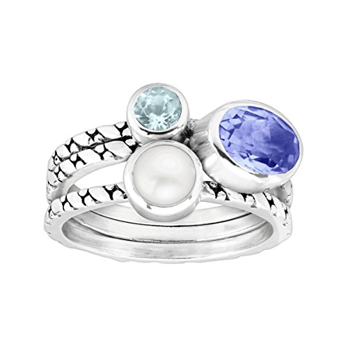 Silpada 'Oceanview' 3/4 ct Natural Blue Quartz, Blue Topaz, 5-5.5 mm Freshwater Cultured Pearl Stacking Rings, Sterling Silver Size 8 - Blue Quartz Pearl