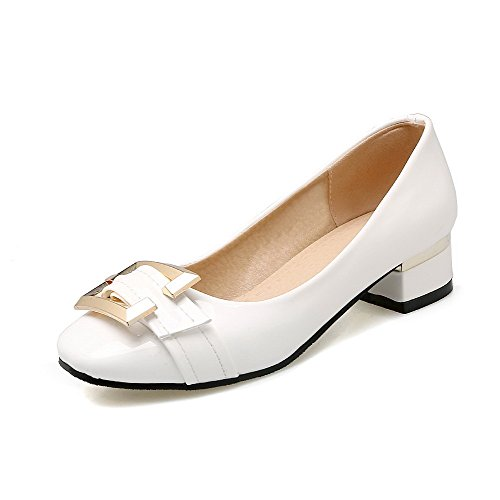 Odomolor Women's Square-Toe Low-Heels PU Solid Pull-On Pumps-Shoes, White, 37