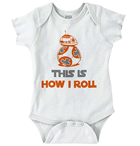 How I Roll Droid Nerd Sci-Fi Funny Cute Pun Romper Bodysuit White -
