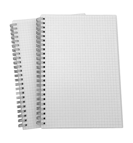 "TripleFortune Translucent Hardcover Wirebound/Spiral Notebook - A5 Size(8.3""x5.8"") - 2 Notebooks Per Pack (Square Grid)"