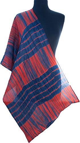 Navy Blue & Orange Hand-Dyed Shibori Silk Scarf 72