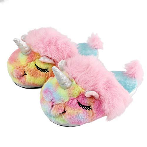 (Komyufa Rainbow Unicorn Women Slippers Soft Cozy Animal Memory Foam Fluffy Fleece Plush House Warm Indoor Shoes Gift for)