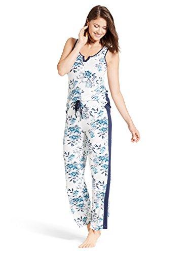 Kathy Ireland Womens Sleeveless Scoop Neck Tank Top Shirt Elastic Waist Pants Set Marshmellow X-Large (Ireland Tank Top)