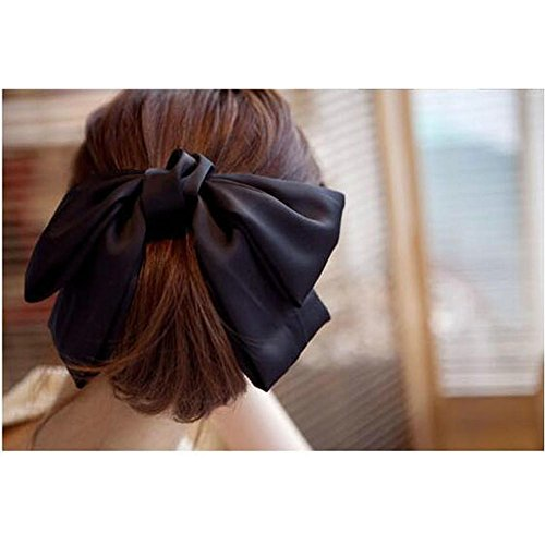"Price comparison product image Black 7"" Big Hair Satin Bow Hair Clips Gossip girl style bowknot Hair Claw"