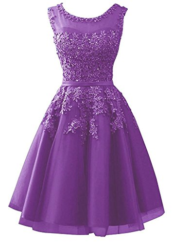 Dearta Dresses Scoop Homecoming Purple Sheer Line Women's Neckline A Appliques Short AqTwAzr