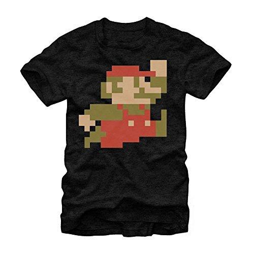Nintendo Super Mario Bros 8-Bit Pixel Sprite T-Shirt-Black (X-Large)
