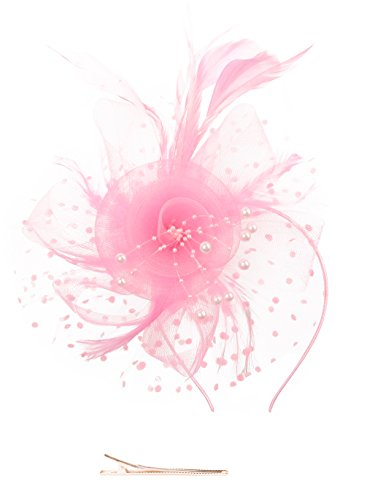 Fascinators Hat for Women Tea Party Headband Kentucky Derby Wedding Cocktail Flower Mesh Feathers Hair Clip (1-Pink) -