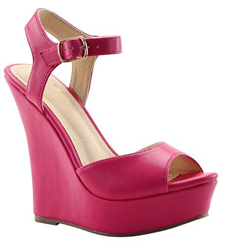 Cambridge Selezionare Donna Peep Toe Fibbia Alla Caviglia Strappy Alta Piattaforma Sandalo Con Zeppa Fucsia