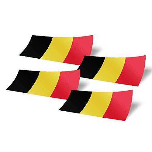 Belgium Belgian 4 Pack of 4 inch Wide Country Flag Stickers Decal for Window Laptop Computer Vinyl Car Bumper