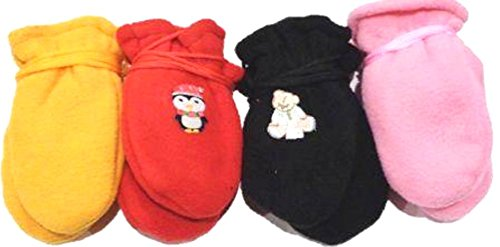 - 4fmg2.050, Set of Four Pairs (black, yellow,tan, and baby blue) One Size Mongolian Fleece Mittens for Infants Ages 0-6 Months