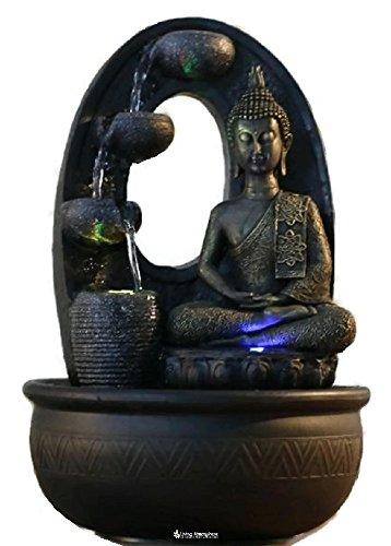 Zimmerbrunnen Innenbrunnen Feng Shui Buddha Harmonie LED Farb Beleuchtung 40 cm