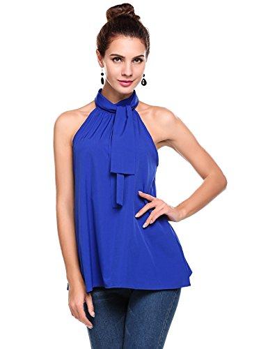Women's Blouse Sleeveless (Blue) - 9