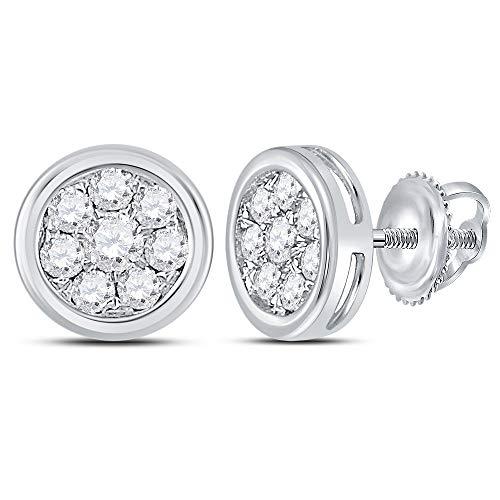 (Diamond Circle Cluster Stud Earrings 1/2ct 14k White Gold)